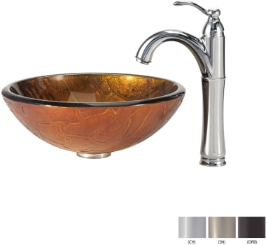 Kraus Copper Series CGV69019MM1005SN - Glass Vessel Sink with Chrome Faucet