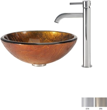 Kraus Copper Series CGV69019MM1007CH - Glass Vessel Sink with Chrome Faucet