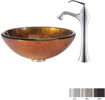 Kraus Copper Series CGV69019MM15000ORB - Glass Vessel Sink with Chrome Faucet