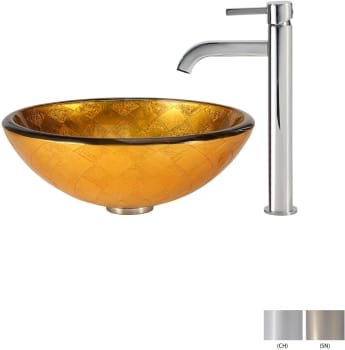Kraus Copper Series CGV69119MM1007SN - Glass Vessel Sink with Chrome Faucet