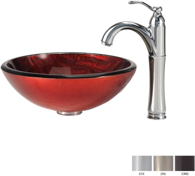 Kraus Copper Series CGV69219MM1005CH - Glass Vessel Sink with Chrome Faucet
