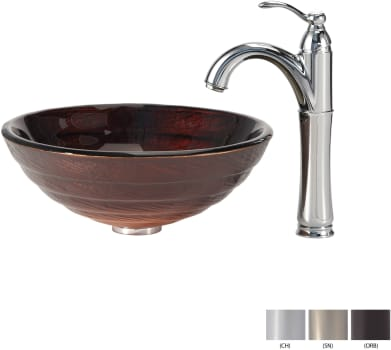 Kraus Copper Series CGV69319MM1005ORB - Glass Vessel Sink with Chrome Faucet