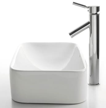 Kraus White Ceramic Series CKCV1221002SN - Rectangular Ceramic Sink with Sheven Faucet