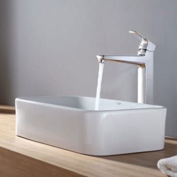 Kraus Virtus Series CKCV12215500CH - Rectangular Ceramic Sink with Virtus Faucet