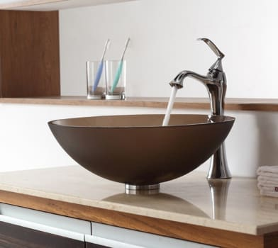 Kraus Ventus Series CGV103FR12MM15000CH - Frosted Brown Glass Sink with Ventus Faucet in Chrome