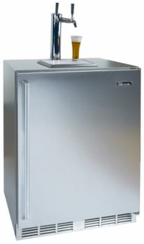 Perlick Signature Series HP24TS1L2 - Shown with Solid Stainless Steel Door with Right Hinge and Dual Faucet Tower