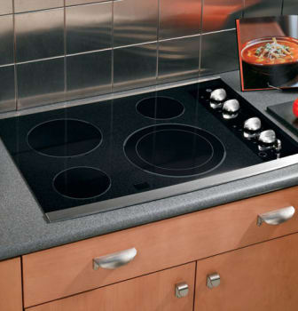 GE CleanDesign JP356SMSS - Black Surface with Stainless Accents