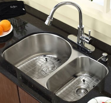 "Kraus Kitchen Combo Series KBU21KPF2220KSD30CH - 30"" Stainless Steel Double Bowl Sink"