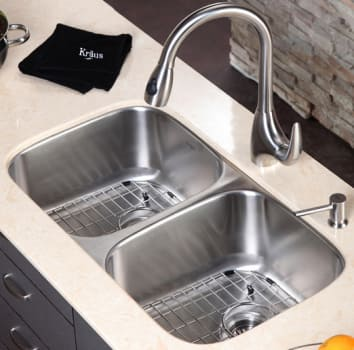 "Kraus Kitchen Combo Series KBU22KPF2170SD20 - 32"" Double Bowl Stainless Steel Sink"