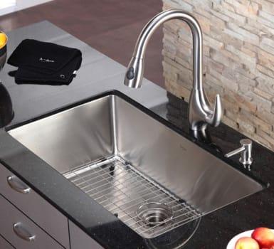 """Kraus Kitchen Combo Series KHU10032KPF2170SD20 - 32"""" Undermount Stainless Steel Sink"""