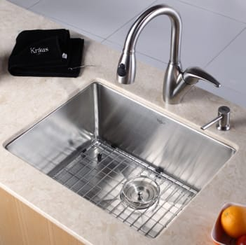 "Kraus Kitchen Combo Series KHU10123KPF2121SD20 - 23"" Stainless Steel Sink with Stainless Steel Faucet"