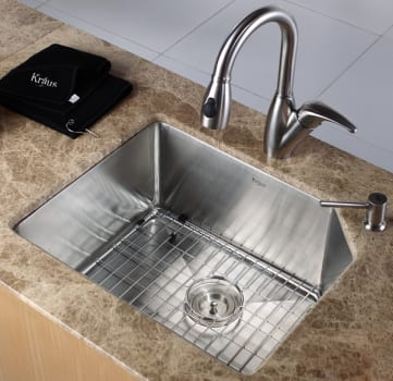 "Kraus Kitchen Combo Series KHU12123KPF2121SD20 - 23"" Stainless Steel Sink with Stainless Steel Faucet"