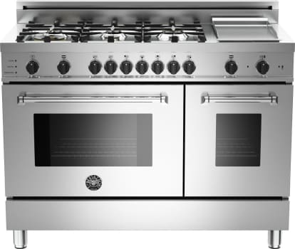 "Bertazzoni Master Series MAS486GDFSXTLP - 48"" 6-Burner + Griddle, Electric Self-Clean Double Oven"