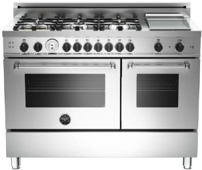 "Bertazzoni Master Series MAS486GGASXT - 48"" 6-Burner + Griddle, Gas Double Oven"