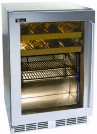 Perlick Signature Series HP24BS4R - 24-inch Stainless Beverage Center w/ Integrated Wood Overlay Glass Door
