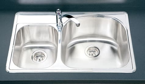 Houzer Premiere Reflection Series RMC3322SL1 - Small Bowl on Left