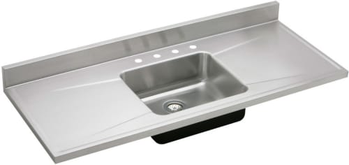 Elkay S60194 60 Inch Single Bowl Stainless Steel Sink Top With 18 Gauge 7 1 2 Inch Bowl Depth Full Length Backsplash And Double Drainboard