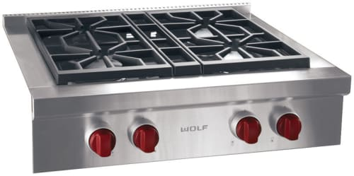Wolf SRT304LP - Stainless Steel with Red Knobs