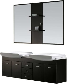 Vigo Industries VG09001104K - Wenge Finish with Mirror and Shelves