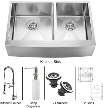 Vigo Industries Platinum Collection VG15093 - Stainless Steel Farmhouse Kitchen Sink