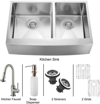 Vigo Industries Platinum Collection VG15099 - Stainless Steel Farmhouse Kitchen Sink