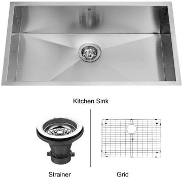 Vigo Industries Kitchen Sink Collection VG3019BK1 - Undermount Stainless Steel Kitchen Sink