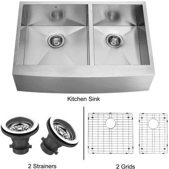Vigo Industries Kitchen Sink Collection VG3620BLK1 - Stainless Steel Farmhouse Kitchen Sink