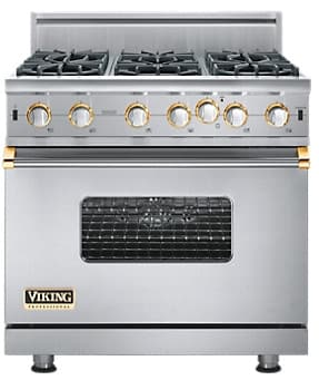 Viking Professional Custom Series VGIC5366BSSBR - Stainless Steel with Brass Accent