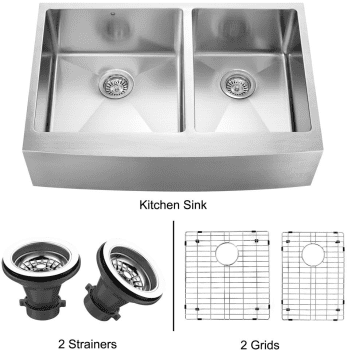 Vigo Industries Kitchen Sink Collection VGR3320BLK1 - Stainless Steel Farmhouse Kitchen Sink