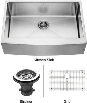 Vigo Industries Kitchen Sink Collection VGR3320CK1 - Stainless Steel Farmhouse Kitchen Sink