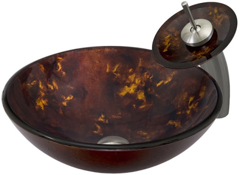 Vigo Industries Vessel Sink Collection VGT033BNRND - Brown and Gold Fusion