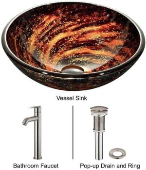 Vigo Industries Vessel Sink Collection VGT162 - Northern Lights Glass Vessel Sink