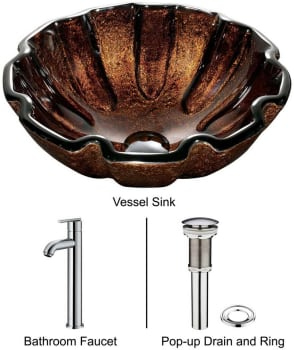 Vigo Industries Vessel Sink Collection VGT166 - Walnut Shell Glass Vessel Sink