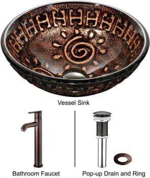 Vigo Industries Vessel Sink Collection VGT169 - Aztec Glass Vessel Sink