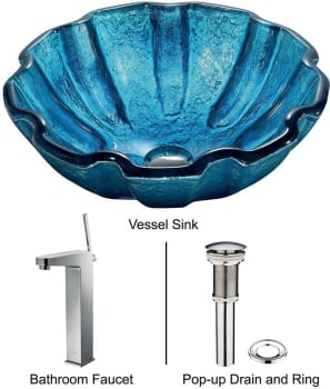 Vigo Industries Vessel Sink Collection VGT173 - Mediterranean Seashell Glass Vessel Sink