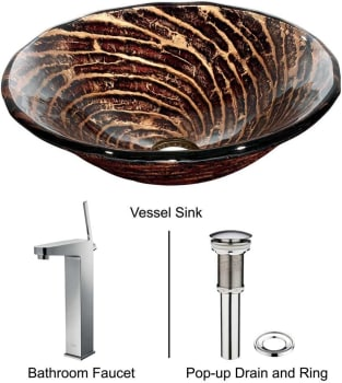 Vigo Industries Vessel Sink Collection VGT175 - Caramel Glass Vessel Sink