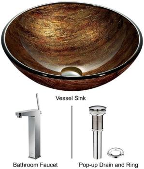 Vigo Industries Vessel Sink Collection VGT176 - Amber Sunset Glass Vessel Sink