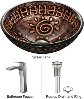 Vigo Industries Vessel Sink Collection VGT180 - Aztec Glass Vessel Sink