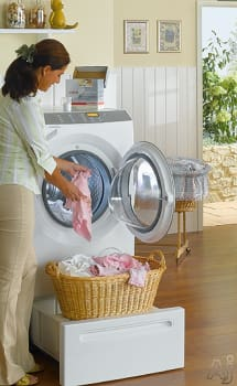 Miele W4840 - Featured View with Optional Laundry Stand