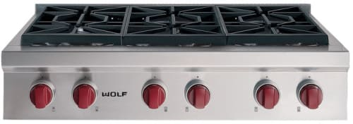 Wolf SRT366X - Stainless Steel with Red Knobs