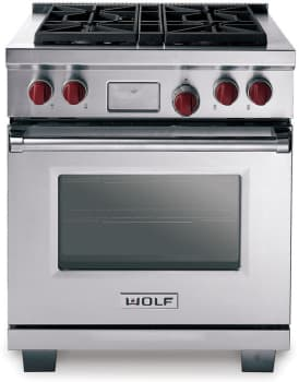 Wolf DF304 - Stainless Steel with Red Knobs