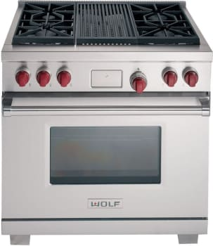 Wolf DF364C - Stainless Steel with Red Knobs