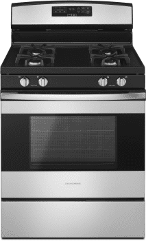 Amana AGR6303MFS - 30 Inch Gas Range in Black-On-Stainless Finish from Amana