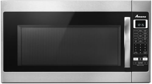 Amana AMV6502RE - 2.0 cu. ft. Over-the-Range Black-on-Stainless Microwave with Sensor Cooking and 400 CFM Recirculating Vent Fan