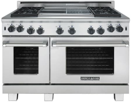"American Range Cuisine Series ARR448GDGRN - 48"" Gas Range with 4 Burners and Center Grill and Griddle"