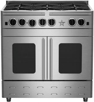 "BlueStar Precious Metals Collection RNB366BPMV2 - 36"" Gas Range with 6 Burners and French Door Convection Oven (coloring sides of unit is additional option, sold separately)."