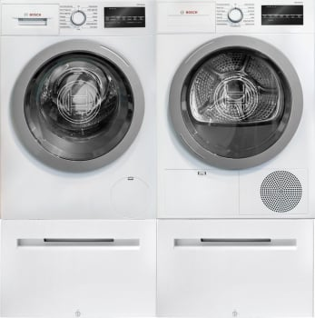 Bosch Bowadreuc2 Side By Side On Pedestals Washer Dryer Set With
