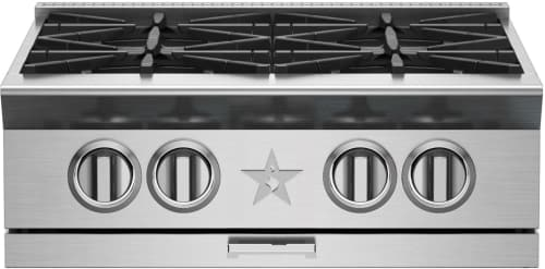 "BlueStar Platinum Series BSPRT244B - 24"" Platinum Rangetop with 25,000 BTU PrimaNova Burners, Interchangeable Griddle/Charbroiler, Gentle 130° Simmer Burner and Integrated Wok Cooking"