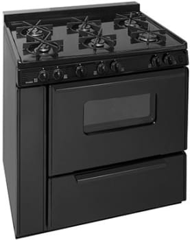 "Premier BTK5X0BP - 36"" Gas Range in Black with 6 Sealed Burners"