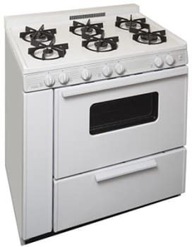 "Premier BTK5X0 - 36"" Gas Range in White with 6 Sealed Burners"